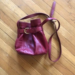 90s Vintage Coach Soho Mini Red Belted Bucket Bag